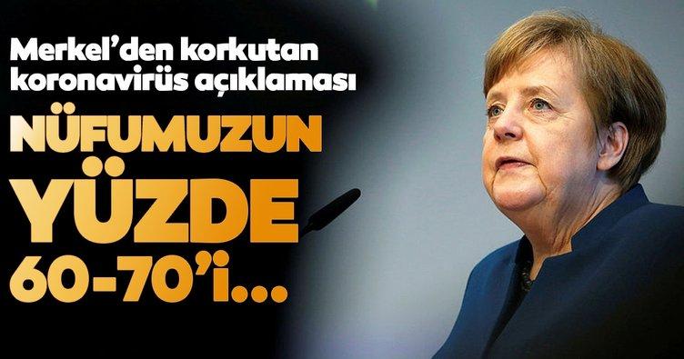 Merkel'den son dakika korkutan koronavirüs açıklaması! Nüfumuzun yüzde 60-70'i...