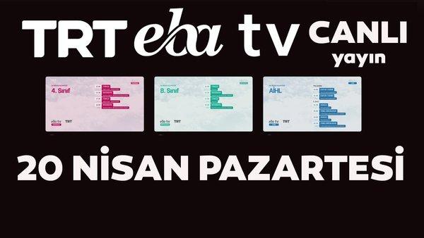 TRT EBA TV (20 Nisan 2020 Pazartesi) Lise, Ortaokul, İlkokul dersleri Uzaktan Eğitim canlı yayın izle | Video