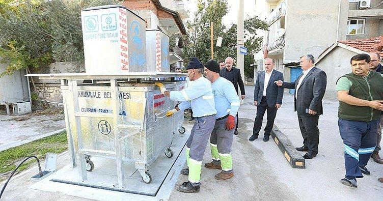 Pamukkale Belediyesi'nden yer altı çöp konteyner