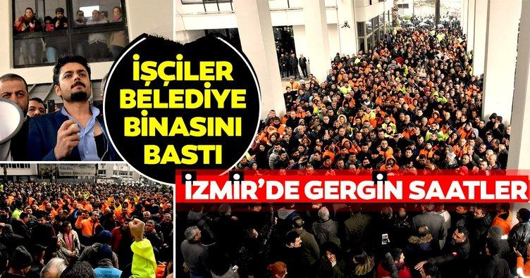 İzmir'de işçiler belediye binasını bastı