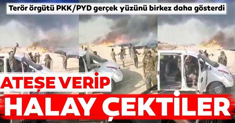 Son dakika: Terör örgütü PKK/PYD gerçek yüzünü bir kez daha gösterdi... Ateşe verip halay çektiler