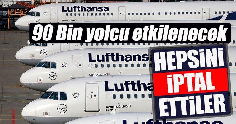 Alman devi Lufthansa, uçuşlarını iptal etti