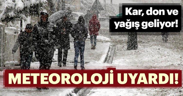 Meteoroloji Genel Müdürlüğü'nden son dakika kar yağışı ve hava durumu uyarısı! Kar, don ve yağış geliyor…