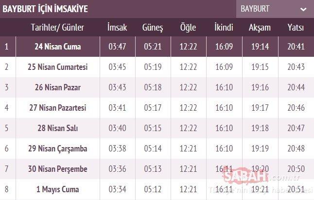 Bayburt ve Trabzon imsakiye ile iftar vakti! 2020 Bayburt ve Trabzon'da sahur ve iftar saati kaçta?