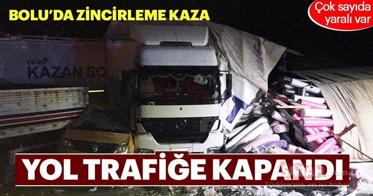 Bolu'da zincirleme trafik kazası kara yolunu kapattı