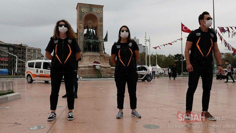 Taksim'de maske takmayanlar drone ile uyarıldı