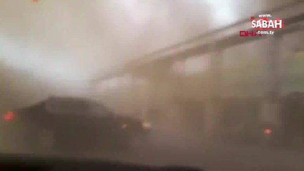 Hatay'da şoke eden olay! Yangın sırasında hortum çıktı; otomobili havaya yükselince beli kırıldı!   Video