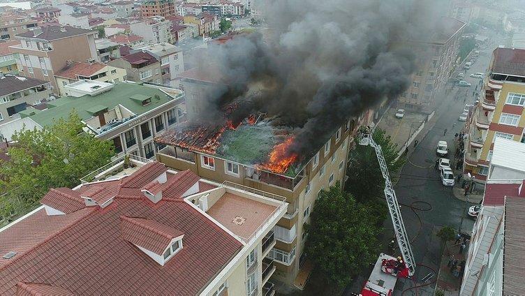 Halkalı'da bir binada yangın çıktı