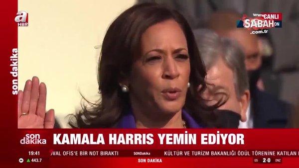 Son Dakika: ABD Başkan Yardımcısı Kamala Harris yemin etti | Video