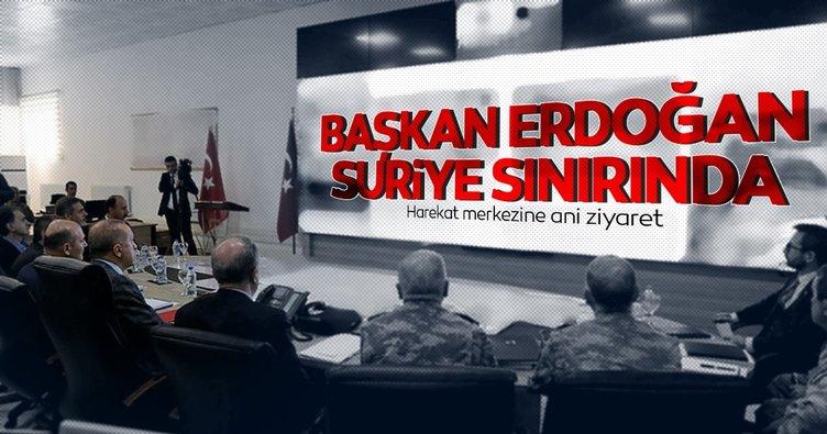Başkan Erdoğan Suriye sınırında müşterek harekat merkezini ziyaret etti!