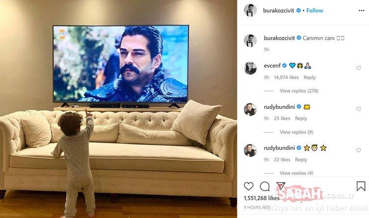 Burak Özçivit oğlu Karan ile Kuruluş Osman'ı izlerken paylaşım yaptı sosyal medya yıkıldı... Burak Özçivit'in oğlu Karan Özçivit'e rekor beğeni...
