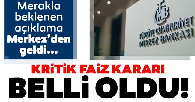 Son dakika: Merkez Bankası'nın yılın ilk faiz kararı belli oldu!