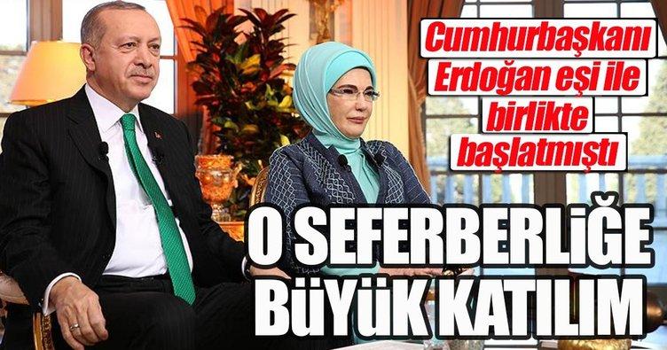 Cumhurbaşkanı Erdoğan ve eşinin başlattığı seferberliğe büyük ilgi var