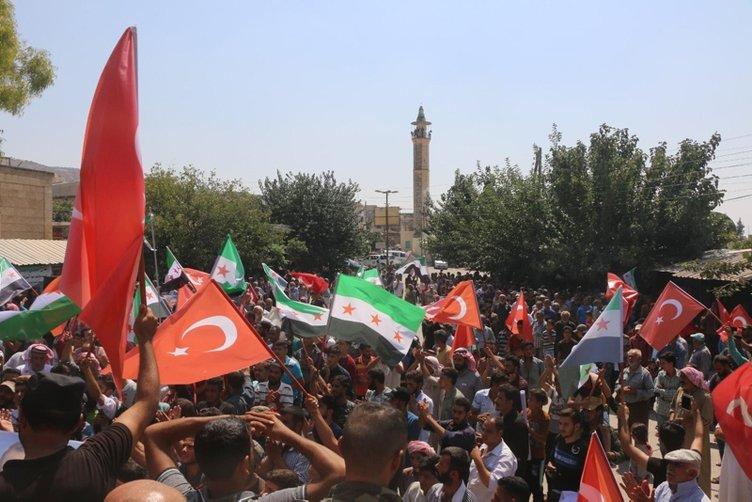 Suriye'de Türkiye'ye teşekkür yürüyüşü
