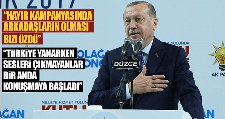 Cumhurbaşkanı Erdoğan: Beraber olduğumuz arkadaşların olması bizi üzdü