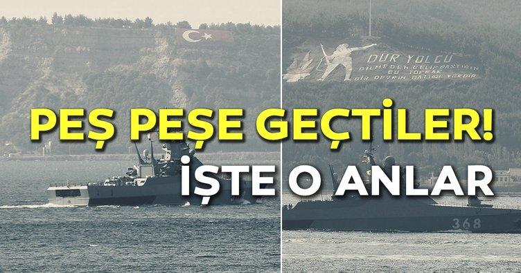 Rus askeri gemileri peş peşe Çanakkale Boğazı'ndan geçti