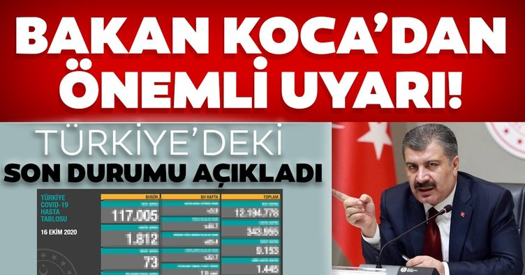 Son dakika haberi: Fahrettin Koca 16 Ekim koronavirüs hasta ve vefat sayılarını açıkladı! Türkiye'de koronavirüs son durum tablosu!