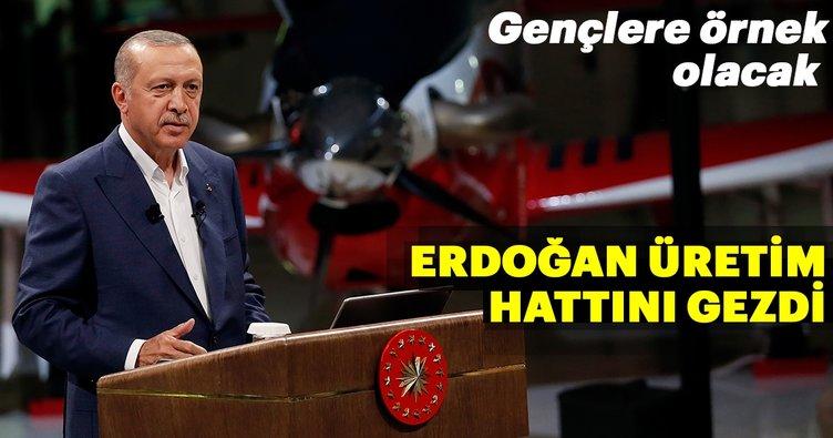 Erdoğan Atak helikopteri üretim hattını gençlerle gezdi