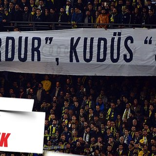 Fenerbahçeli taraftarlardan  pankartla Filistin'e destek