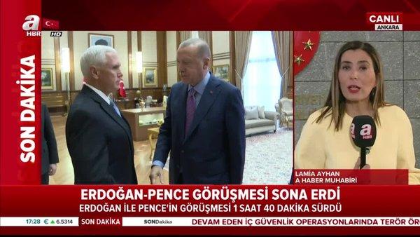 Cumhurbaşkanı Erdoğan'ın ABD Başkan Yardımcısı Pence ile görüşmesi sona erdi