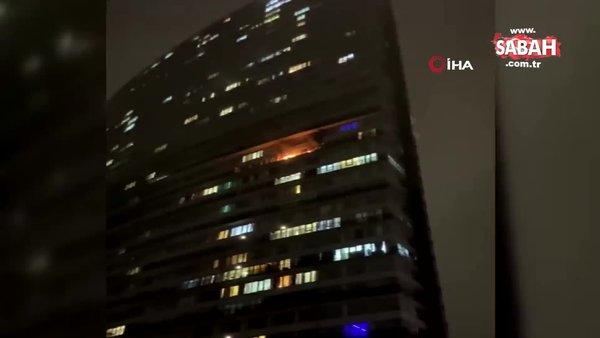 İstanbul'da lüks rezidansta korkutan yangın | Video
