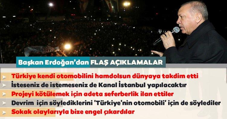 Başkan Erdoğan: Bugün Türkiye kendi otomobilini hamdolsun dünyaya takdim etti