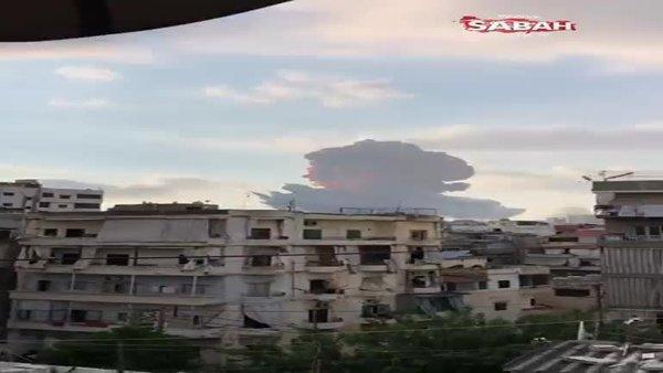 Son dakika! Beyrut'taki şiddetli patlama anı kameraya böyle yansıdı! | Video