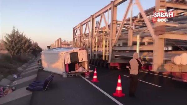 SON DAKİKA HABERİ: Tarım işçilerini taşıyan minibüs devrildi: 12 yaralı | Video