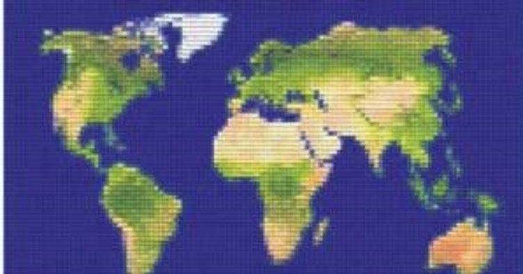 Minikler dünya haritası yapıyor