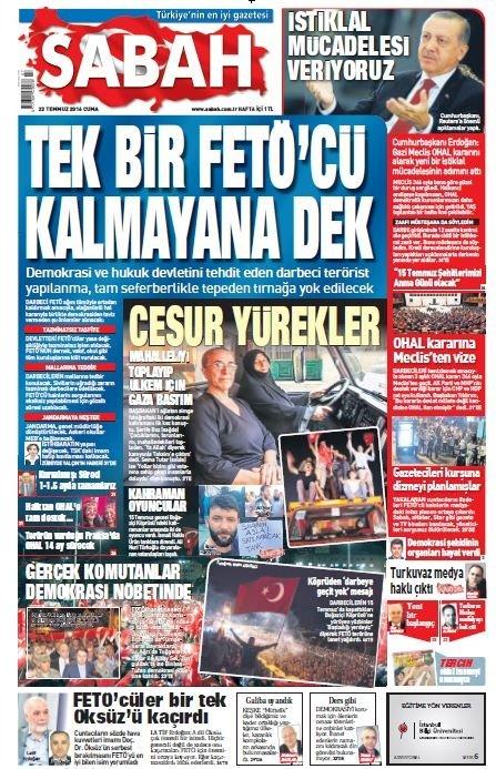 Türkiye 15 Temmuz ihanetini SABAH'tan okudu!