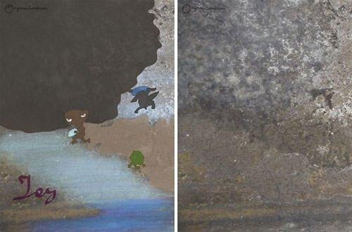 Duvar lekelerini sanat eserine çeviriyor