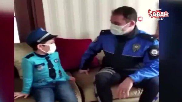 Polis olmak isteyen minik Aras'ın hayali gerçek oldu   Video