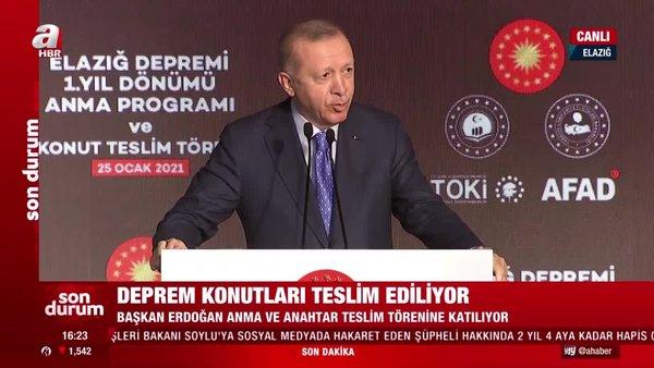 Cumhurbaşkanı Erdoğan'dan Elazığ Deprem Konutları Teslim Töreni'nde önemli açıklamalar   Video