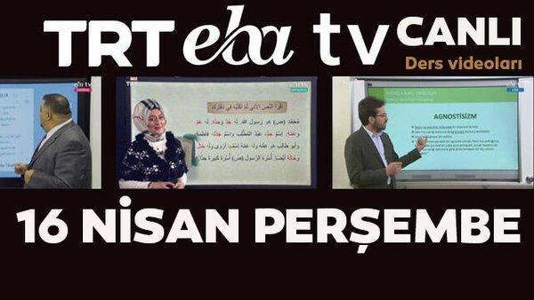 TRT EBA TV (16 Nisan 2020 Perşembe) Lise, Ortaokul, İlkokul dersleri Uzaktan Eğitim canlı yayın izle   Video