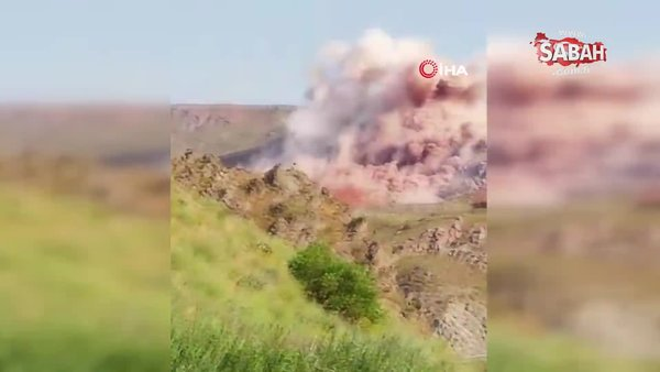 Taş ocağında kontrollü patlama kamerada | Video