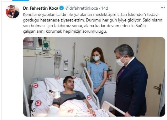 Sağlık Bakanı Koca'dan hastasının bıçaklı saldırısına uğrayan doktor Ertan İskender'e ziyaret 14