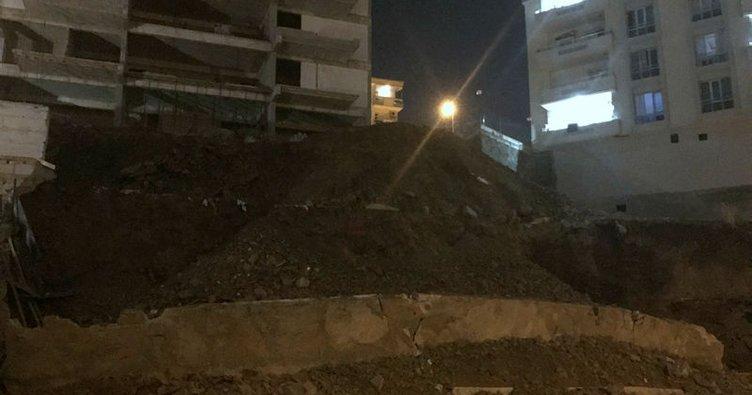 Gaziantep'te bir binanın istinat duvarı çöktü!