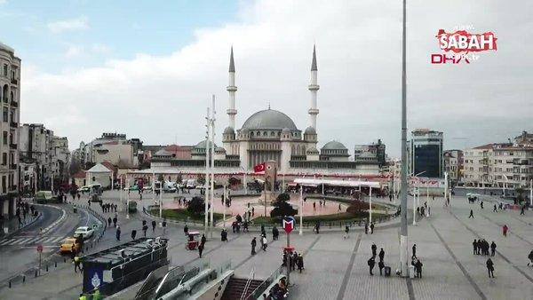 İstanbul Taksim Meydanı'ndaki cami tamamlanmak üzere... Son durum havadan görüntülendi | Video