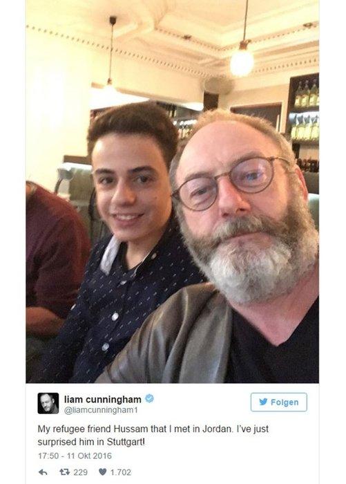 Liam Cunningham'dan mülteci arkadaşına sürpriz