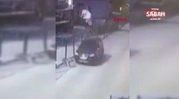Bursa'da lüks cipiyle, yol kenarında mama yiyen köpeğe böyle çarparak kaçan sürücü kamerada