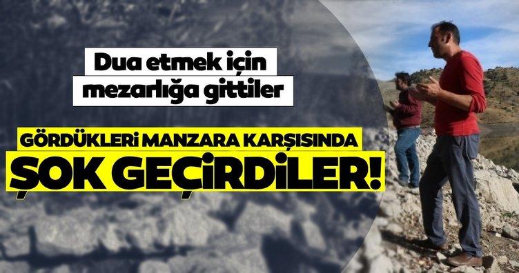 Son dakika haberler: Sivas'ta tüyler ürperten görüntü! Dua etmek için mezarlığa gittiler, insan bedenine ait kemiklerle karşılaştılar