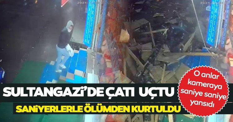 Son dakika haberi: Çatı uçtu, ölümden saniyelerle kurtuldu! O anlar kamerada