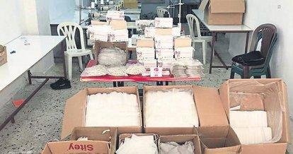 Mersin'de kaçak üretilen 13 bin maske ele geçirildi