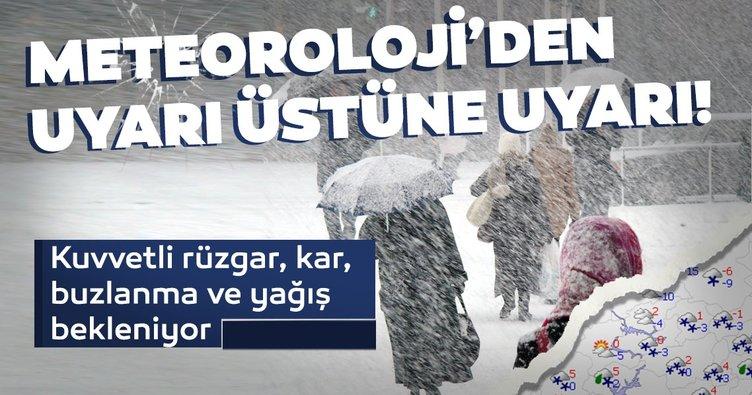 Hava durumundan son dakika: Kuvvetli, rüzgar, kar, buzlanma, yağış... Meteoroloji'den uyarı üstüne uyarı geldi!