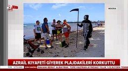 Azrail kıyafeti ve tırpanla dolaşan genç plajdakiler korkuttu | Video