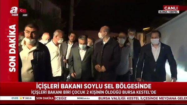 Son dakika: İçişleri Bakanı Süleyman Soylu Bursa'da sel bölgesine geldi! | Video