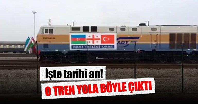 İşte tarihi an: 'Bakü-Tiflis-Kars Demiryolu'nda ilk tren böyle hareket etti!