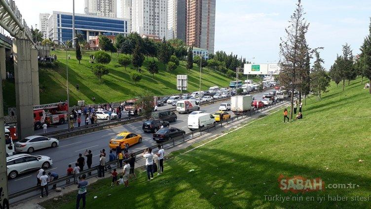 Esenyurt'ta intihar girişimi; Trafik durduruldu, yüzlerce kişi seyretti