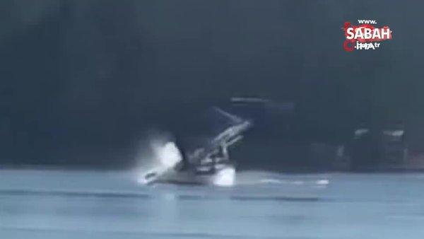Deniz uçağının göle düşme anı kamerada | Video