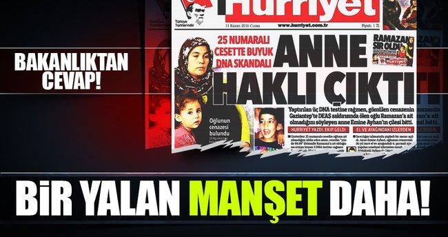 Hürriyet gazetesine yalanlama